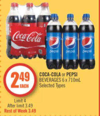 3eea4ad6674 COCA-COLA or PEPSI BEVERAGES 6 x 710mL