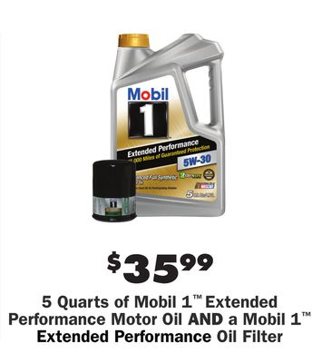 ddb141ec939 5 Quarts of Mobil 1™ Extended Performance Motor Oil AND a Mobil 1™ Extended  Performance Oil Filter