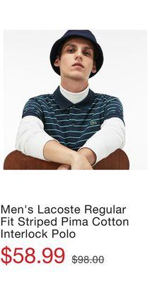 4d2c329d02c3d Men s Lacoste Regular Fit Striped Pima Cotton Interlock Polo