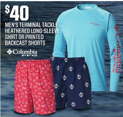 d322772235a3 Men s Terminal Tackle Heathered Long-Sleeve Shirt or Printed Backcast Shorts