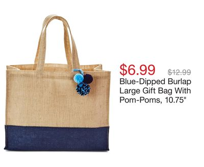 6935451adfd Blue-Dipped Burlap Large Gift Bag With Pom-Poms, 10.75