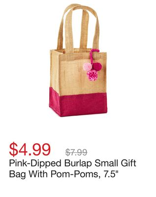 e5df0a20e03 Pink-Dipped Burlap Small Gift Bag With Pom-Poms, 7.5