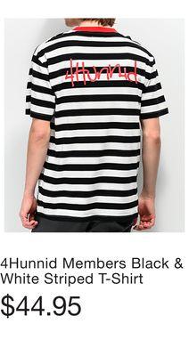 7461ceaa0 4Hunnid Members Black & White Striped T-Shirt