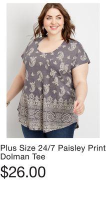 9e84bd991ef Plus Size 24 7 Paisley Print Dolman Tee
