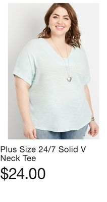 53c425e54fd Plus Size 24 7 Solid V Neck Tee