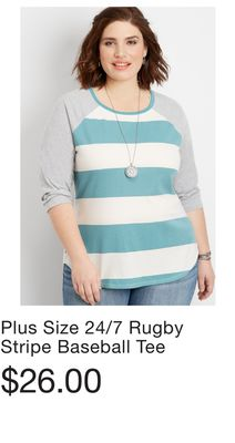 8339214630c Plus Size 24 7 Rugby Stripe Baseball Tee