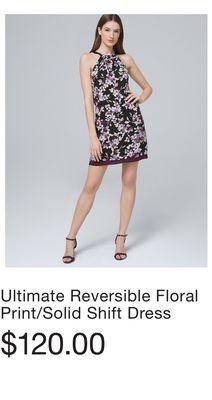 007d5b7f152 Ultimate Reversible Floral Print Solid Shift Dress
