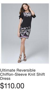 ca5fef8b2d28 Ultimate Reversible Chiffon-Sleeve Knit Shift Dress