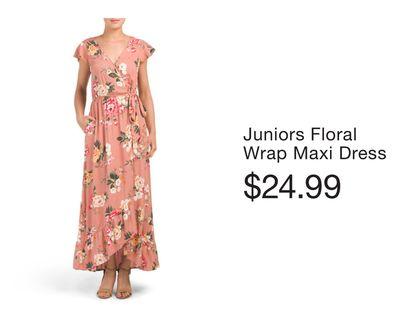 4f062cf9f8e Juniors Floral Wrap Maxi Dress - Flipp