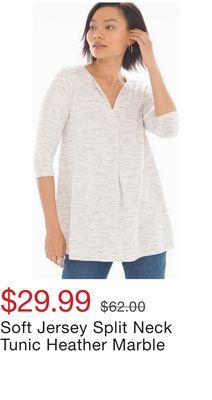 6b84b5407e7 Soft Jersey Split Neck Tunic Heather Marble