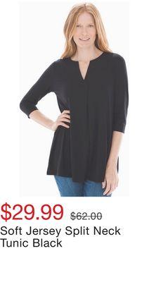 e63be60bab8 Soft Jersey Split Neck Tunic Black