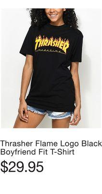cf1f14990 Thrasher Flame Logo Black Boyfriend Fit T-Shirt