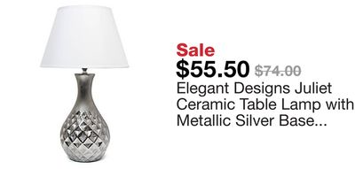 79131dcd9d2b Elegant Designs Juliet Ceramic Table Lamp with Metallic Silver Base and White  Fabric Shade