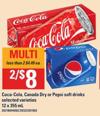 07b2bf31234 COCA-COLA, CANADA DRY OR PEPSI SOFT DRINKS, 12 x 355 mL