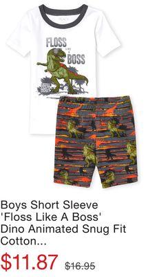 51b9058ee88be Boys Short Sleeve 'Floss Like A Boss' Dino Animated Snug Fit Cotton Pajamas