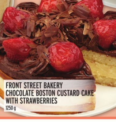 FRONT STREET BAKERY CHOCOLATE BOSTON CUSTARD CAKE WITH STRAWBERRIES