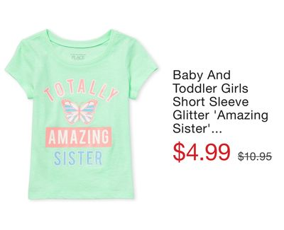 841bc322 Baby And Toddler Girls Short Sleeve Glitter 'Amazing Sister' Butterfly  Graphic Tee