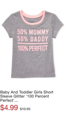0738feaa Baby And Toddler Girls Short Sleeve Glitter '100 Percent Perfect' Graphic  Tee