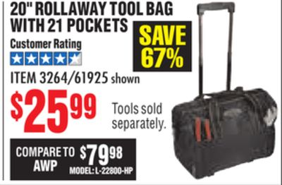 Get 20 Rollaway Tool Bag With 21 Pockets 25 99 In