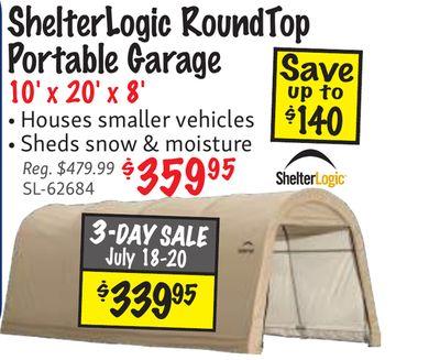 Get 9 ShelterLogic RoundTop Portable Garage Save 10' x 20' x