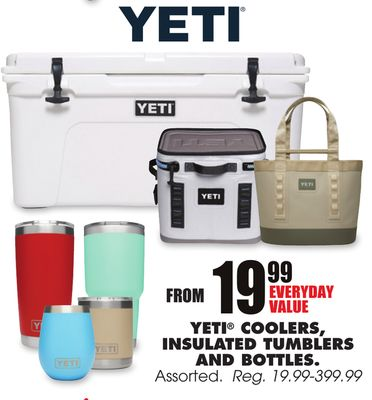 Get YETI® COOLERS, INSULATED TUMBLERS AND BOTTLES for $19 99
