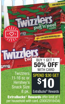 Get Twizzlers 11-16 oz or Hershey's Snack Size 8 pk with