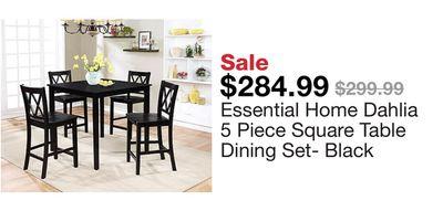0ad2a53b5d98 Essential Home Dahlia 5 Piece Square Table Dining Set- Black