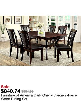 3ff8e5dfe67f35 Furniture of America Dark Cherry Darcie 7-Piece Wood Dining Set