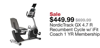 Get NordicTrack GX 4 7 R Recumbent Cycle w/ iFit Coach 1 YR