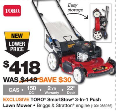 TORO® SmartStow® 3‑In‑1 Push Lawn Mower