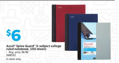 Get Accel® Spine Guard™ 3-subject College Ruled Notebook