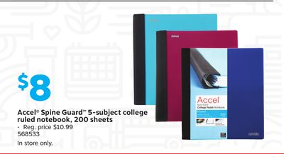 Accel Spine Guard 5subject College Ruled Notebook 200 Sheets