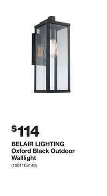 Belair Lighting Oxford Black Outdoor Wall Light Parksville Bc