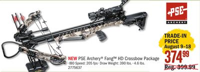 Get PSE Archery® Fang™ HD Crossbow Package for $374 99 in