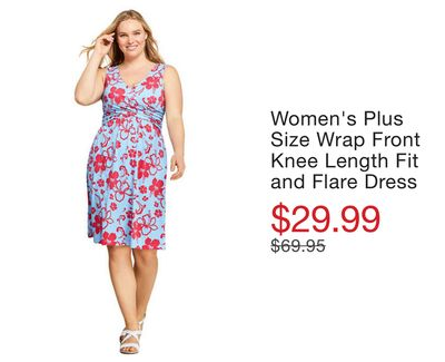 573ea6088f3a Women's Plus Size Wrap Front Knee Length Fit and Flare Dress