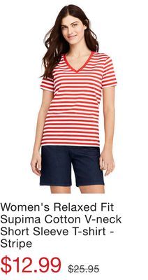 f9a10c89815a Women's Relaxed Fit Supima Cotton V-neck Short Sleeve T-shirt - Stripe