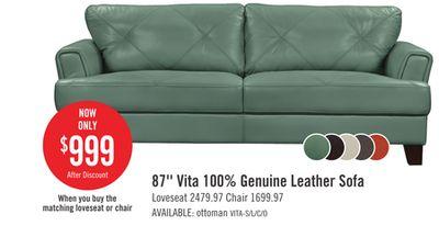Astonishing 87 Vita 100 Genuine Leather Sofa Hamilton On Pabps2019 Chair Design Images Pabps2019Com