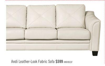 Get Andi Leather-Look Fabric Sofa for $599.0 in Brampton ...