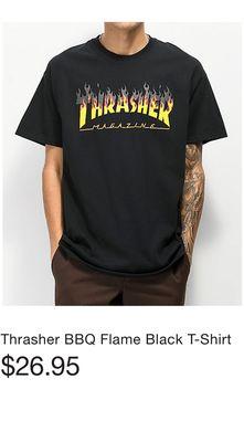 0ee4d9caf736 Thrasher BBQ Flame Black T-Shirt