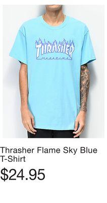 190749d2e3da Thrasher Flame Sky Blue T-Shirt