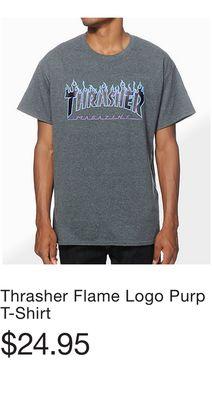 0d5b1fbed1b4 Thrasher Flame Logo Purp T-Shirt