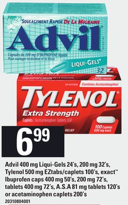 Advil 400 Mg Liquigels 24s 200 Mg 32s Tylenol 500 Mg