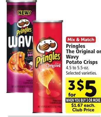 Get Pringles The Original or Wavy Potato Crisps with $5 0 in