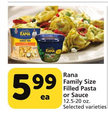 Rana Family Size Filled Pasta Or Sauce San Diego California