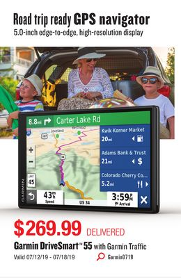 Get Garmin DriveSmart 55 with Garmin Traffic for $269 99 in