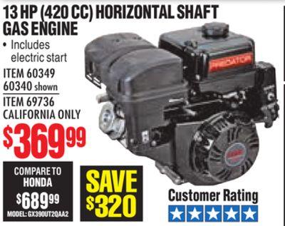 Get 13 HP (420cc) OHV Horizontal Shaft Gas Engine EPA/CARB