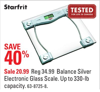 Starfrit Balance Silver Electronic Glass Scale Kincardine