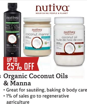 Get s UP TO 25% OFF Organic Coconut Oils & Manna • Great for