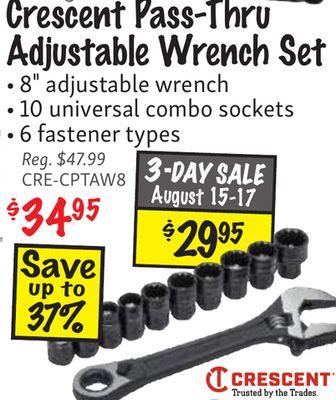 Get Crescent Pass-Thru Adjustable Wrench Set • 8
