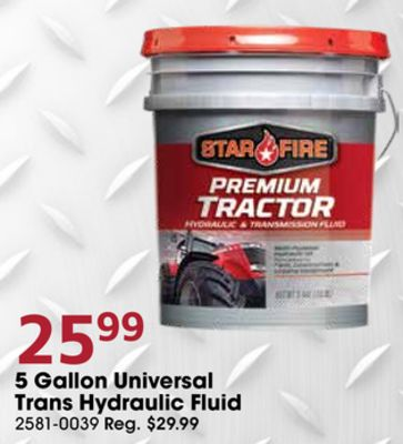 Get 5 Gallon Universal Trans Hydraulic Fluid with $25 99 in